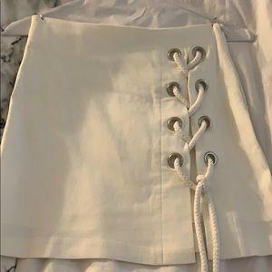 Mini lace up skirt